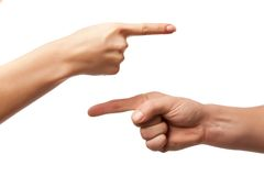 Hand on hand on white background, hand gesture, s Stock Image