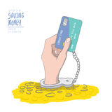 A hand handcuffed tethered to a credit card out of pile coins. D Royalty Free Stock Image