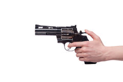 The hand with handgun isolated on white Royalty Free Stock Images