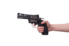 The hand with handgun isolated on white Stock Photos