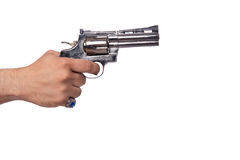 The hand with handgun isolated on white Stock Photography