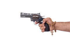 The hand with handgun isolated on white Royalty Free Stock Photos