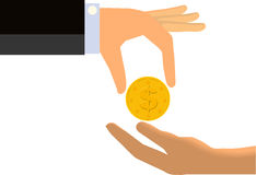 Hand Handing Coin To The Limp Hand of Another Person (Isolated) Royalty Free Stock Image
