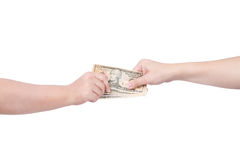 Hand handing over money to another hand isolated on white background Royalty Free Stock Photography