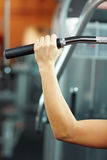 Hand on handle in gym Royalty Free Stock Photo