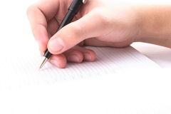 Hand with the handle,  daily log,  document. Royalty Free Stock Photo