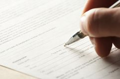 Hand with the handle,  daily log,  document Royalty Free Stock Photos