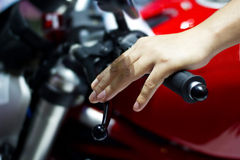 Hand on handlebars motorcycle Royalty Free Stock Photography