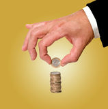 Hand handling euro coins Royalty Free Stock Photos