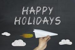 Happy holidays concept on blackboard. royalty free stock photo