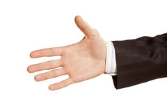 Hand for a handshake. Male hand for a handshake on white background Stock Images