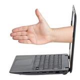 Hand Handshaking Deal Screen Notebook Stock Images