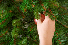 Hand hanging christmas tree toy. Stock Photography
