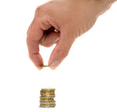 Hand hanling euro coins Royalty Free Stock Photography