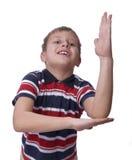 hand hans lyftta schoolboy Royaltyfri Fotografi