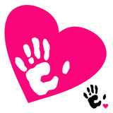 Hand and heart Stock Images