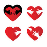 Hand-heart. Character set characters with hearts and hands to color Royalty Free Stock Photos