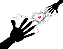 Hand heart. About love, illustration Royalty Free Stock Photography