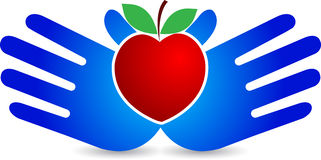 Hand heart apple Royalty Free Stock Images