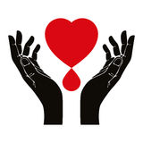 Hand with heart and blood drop vector symbol. Royalty Free Stock Photography