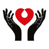 Hand with heart and blood drop vector symbol Stock Images