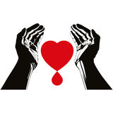 Hand with heart and blood drop vector symbol. Stock Images