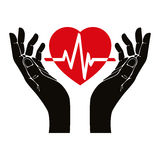 Hand with heart and cardiogram. Stock Images
