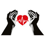 Hand with heart and cardiogram vector symbol Royalty Free Stock Images