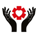 Hand with heart and emergency symbol vector symbol. Stock Photos