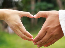 Hand in heart form. Royalty Free Stock Photography
