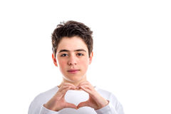 Hand Heart gesture by Caucasian Smooth-skinned teenager Royalty Free Stock Images