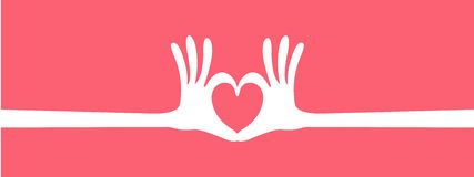 Hand heart gesture header Stock Image
