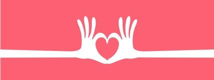 Hand heart gesture header. Longer banner vector Stock Image