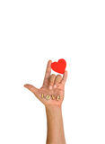 Hand with heart and letter Stock Images