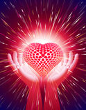 Hand Heart Light Beam Magic Power Love Background Red Royalty Free Stock Photo