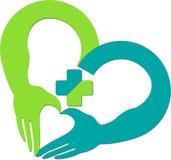 Hand heart logo Stock Image