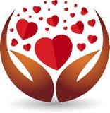 Hand heart logo Stock Images