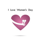 Hand and heart  logo vector design with international women`s da Royalty Free Stock Photography