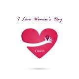 Hand and heart  logo vector design with international women`s da Stock Image