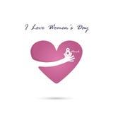 Hand and heart  logo vector design with international women`s da Stock Photo