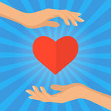 Hand and heart - love giving concept vector flat illustration. Stock Photos