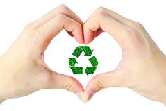 Hand heart and recycle sign Stock Images