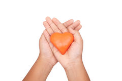 Hand and heart shape. Hand holding a Red Heart, concept of care Stock Images