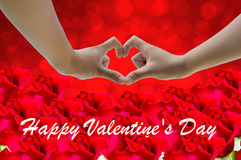 Hand on heart-shaped red background and roses on Valentine's Day Stock Photography