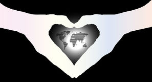 Hand heart silhouette and worldmap background beautiful banner w Royalty Free Stock Photo