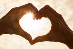 Hand Heart Sunrise Sunset Royalty Free Stock Photography