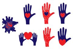 Hand and heart symbols showing various concepts Royalty Free Stock Images