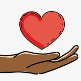 Hand with heart to celebrate freedom juneteenth. Vector illustration Stock Photos