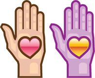 Hand and Heart vector icon Royalty Free Stock Images