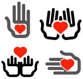 Hand and heart on white background Royalty Free Stock Image